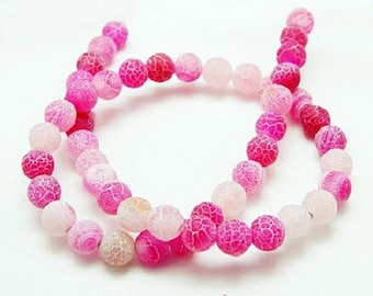 Pink 50 cracked 8 mm dragon vein agate beads