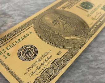 Lucky Gold Dollar Bill - Framed Gold Hundred Dollar Bill