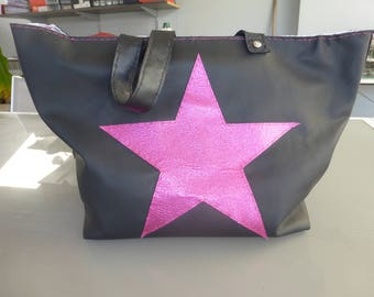 leather tote bag black with bright pink leather star sewn front and back