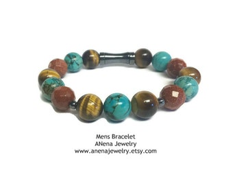 MIRACULOUS SUCCESS Mens Bracelet By ANena Jewelry : Turquoise, Tigerseye, Faceted Sunstone and Hematite
