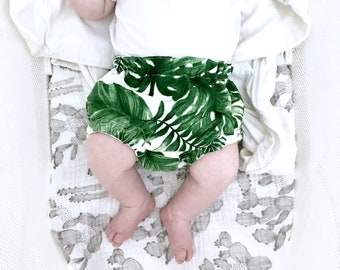 Baby Bloomers, Nappy Cover, Diaper Cover, Monstera Bloomers, Monstera Nappy Cover, Tropical Bloomers, Palm Bloomers, Green Bloomers