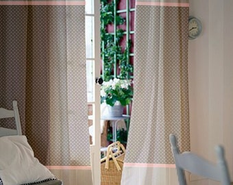 Gray Pink Window Curtains - Girl Nursery Curtains - Kids Curtains - Curtain Panels - Polka dot Curtains - Drapes - Select Size&Lining type