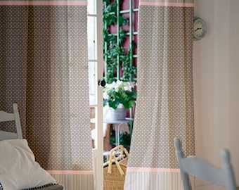 Window curtains / Nursery curtains / Kids curtains / Pair of 108L 46W inch / Gray Pink Polka dot / Nursery drapes / baby girl curtains