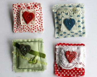 Fabric brooch - fabric pin - textile brooch - stitched brooch - heart brooch - mixed media brooch - clothing accessory -heart pin -uk seller