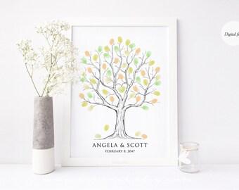 Fingerprint tree guestbook alternative, Thumbprint tree guest book for wedding, baby shower, birthday, retirement gift, digital file DIY