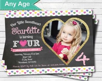 Valentine birthday invitation. Pink and gold glitter girl 1st 2nd 4th birthday chalkboard heart photo digital printable invite. VKB02
