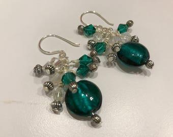 Teal green, royal blue or pink dangle earrings
