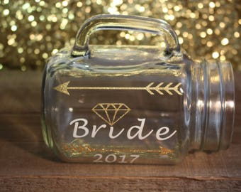 Personalized Mason Jar, Bride/Diamond mug, Brides gift, Bridesmaid personalized mason jar, Mason jar, Wedding gift , Maid of Honor gift