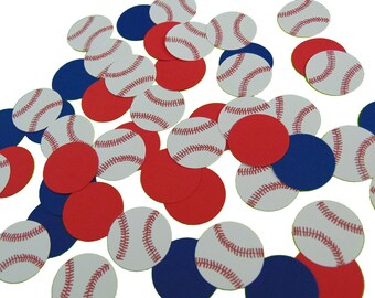 50 Baseball Confetti, Sports Party Decorations, Birthday Decor, White, Red and Navy Blue - No703