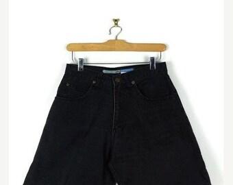 ON SALE Vintage Black High waist Denim Shorts from 90's/W26