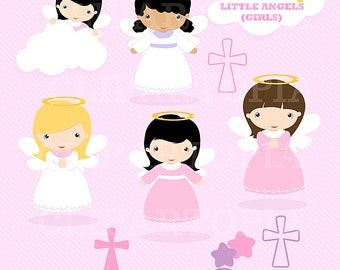 Little angels Girls digital Clipart / Cute Angels Clip Art / Angels Graphics For Personal and Commercial use / instant download