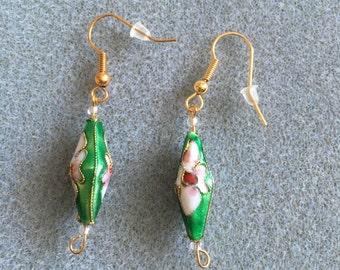 green diamond shape cloisonné earrings
