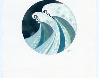 SALE!!! Stormy Seas, original watercolor