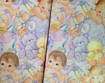 Vintage Gift Wrap for Baby Shower, gift wrapping paper 90's