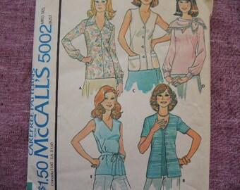 vintage 1970s McCalls sewing pattern 5002 misses set of blouses size 14