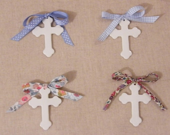 1 cross in fine China 7 cm, choose which Liberty Ribbon