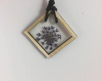 Purple Queen Anne's Lace Wood Bezel Necklace