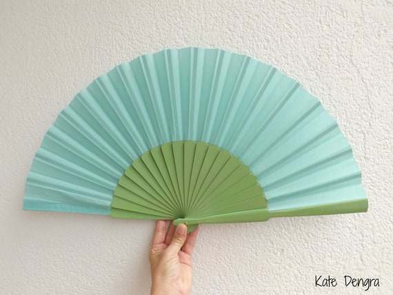 XL Pale Green Turquoise Hand Fan Ready To Customize