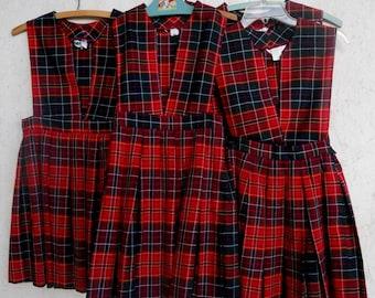 Vintage Kids 70s Plaid School Girl Uniform Jumper Dress Matching Size Youth 8-10