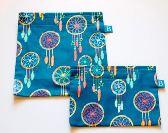 Reuseable Eco-Friendly Set of Snack and Sandwich Bags in Turquoise Dreamcatcher Fabric