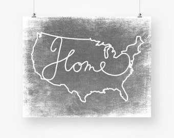 USA map digital print download gray distressed large united states wall art decor poster sign jpg printable digital print instant download