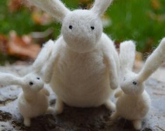 Needle Felt Rabbits Family Portrait, Handmade, Mother's Day,Family,Father's Day, Needlefelt,Animal,Soft Sculpture,Fibre Art, OOAK, Miniature