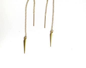 Threader Earrings, Ear Threaders, Gold Ear Threaders, Gold Threader, Long Threader, Ear Thread Earrings, Threader Chain, Simple Threader