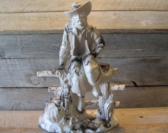Cowboy on the Fence -  Horse Hair Raku Pottery -