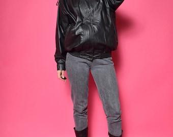 Vintage 90's Real Leather Bomber Jacket / Black Genuine Leather Jacket / Black Real Leather Zipper Jacket - Size Large