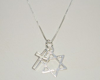 Messianic star of david and cross two charms pendant real 6 pieces messianic star of david and cross two charms pendants with box chain necklaces lot sterling silver 925 free shipping worldwide aloadofball Gallery