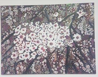 Almond Tree Blossoms Acrylic Painting Original Handmade Painted On Canvas Wall Art