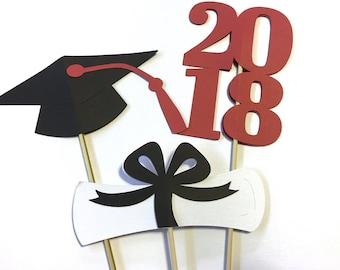 6 piece Graduation Centerpiece - Graduation party - School Colors -  Centerpiece picks - Class of 2018 - High School grad - College Grad