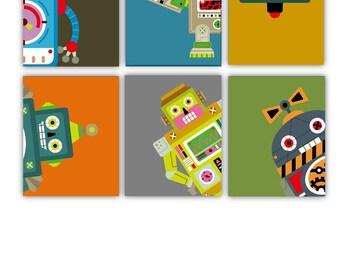 """Robot Art // Robot Nursery Decor // Nursery Art Prints// Kids Room Decor // Baby Boy Nursery Decor // Wall Art Prints 8""""X10"""" Six PRINTS Only"""