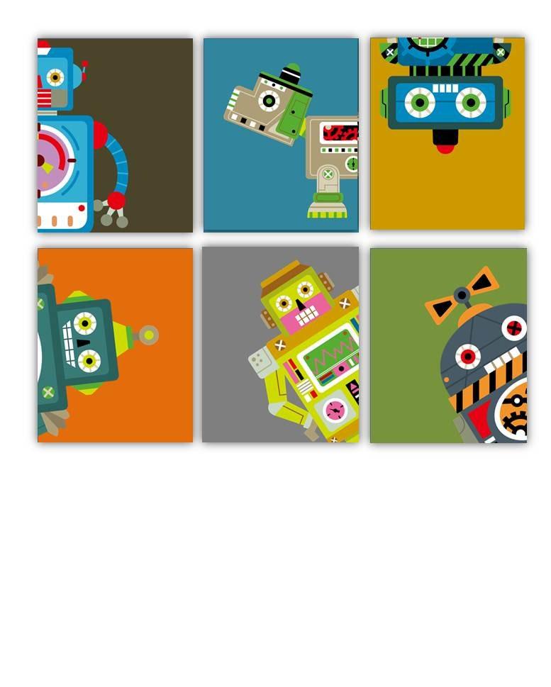 Nursery art for boys robots art prints robot nursery art for Robot baby room decor
