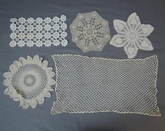 Vintage 5 Ecru Crochet Doilies, Vintage Linen Doily Lot, Hand made 1940s