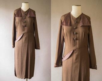 vintage 1940s dress / 40s chocolate brown crepe dress / medium / Lava Cake Dress