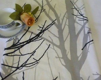 """Table Runner Funky Grey Tree with Black twigs on White Woodland Runner Over 6ft (2mts long-78"""")"""