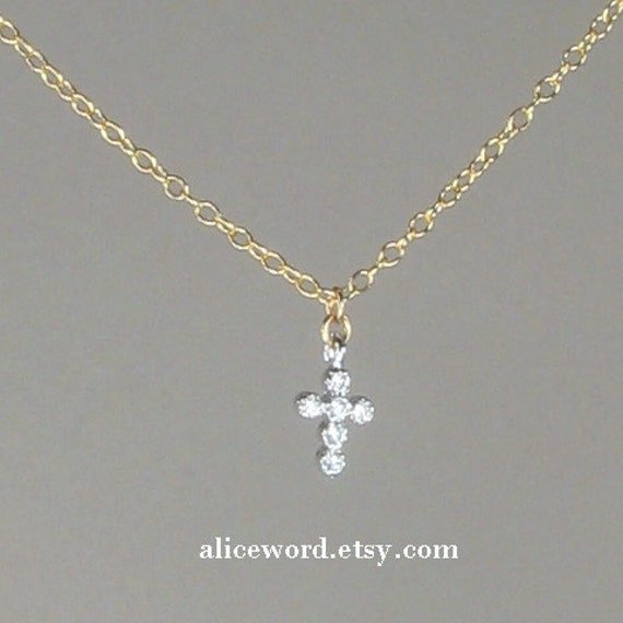 Small cz cross necklace gold diamond cross pave dainty small cz cross necklace gold diamond cross pave dainty delicate thin simple tiny layering cubic zirconium 14k gold fill mozeypictures Gallery