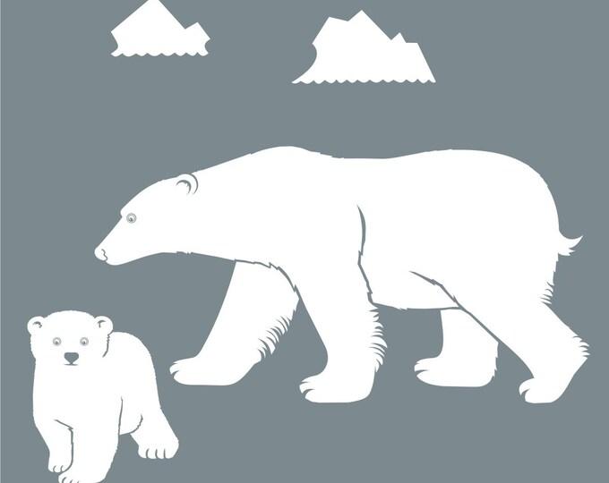 polar bear wall decal, bear mother, bear cub sticker art, arctic vinyl decal, FREE SHIPPING