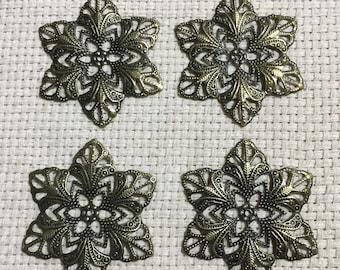 Antique Bronze Filigree Embellishments ( Set of 4 )  Jewelry, Embellishments, Junk Journals, Scrapbooks, Collages