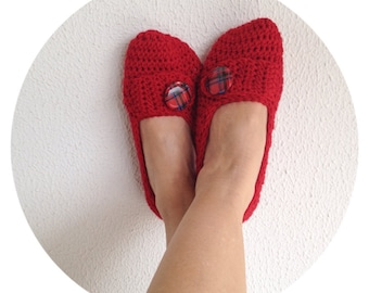 Red Crochet Womens Slippers With Plaid Button, Ballet Flats, House Shoes