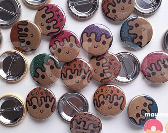 happy donut hole pin (glittery doughnut button pins)