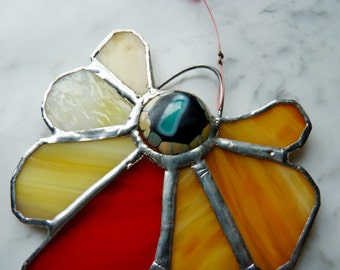 Stained Glass Suncatcher Sunflower with with Fused Cab Centerpiece and Beads - Carnelian Swing