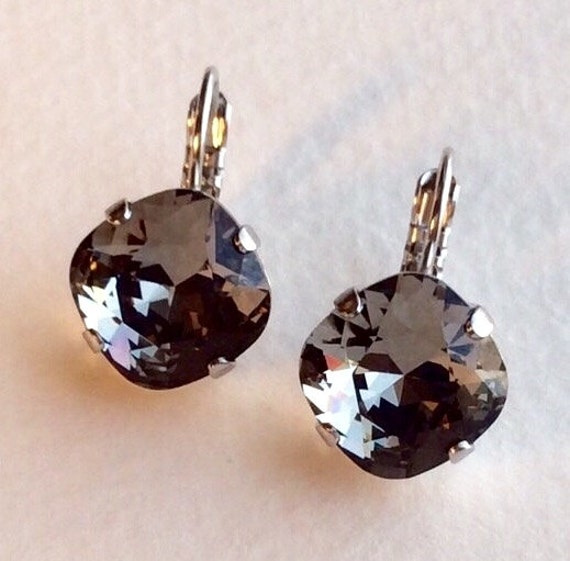 Swarovski Crystal 12MM Cushion Cut,  Lever- Back Drop Earrings - Designer Inspired -Black Diamond- On SALE - FREE SHIPPING
