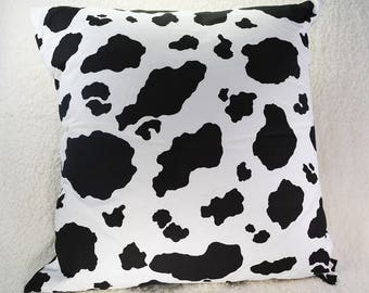 Cow Pillow Cover, 18x18, Black and White