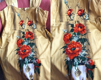 Vintage 1950's 60's Flowers in a Vase Handmade Dress XXL