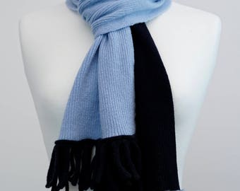 Navy and Light Blue 2 colour Lambswool Scarf