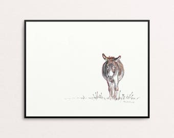 Donkey Art Print, Animal Art, Illustration, Drawing, Digital Art, Original Art, Sketch, Minimal Art, Mexico, Africa, Pastel Painting, Boho