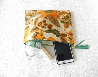 Floral mustard linen pouch, use as makeup bag, pen pouch,  discreet bag for personal items