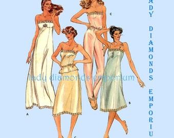 Butterick 3434 Womens Sexy Lingerie Camisole Full Slip Half Slip Maxi Slip Pants Liner size 10 Vintage Plus Size Sewing Pattern Uncut FF